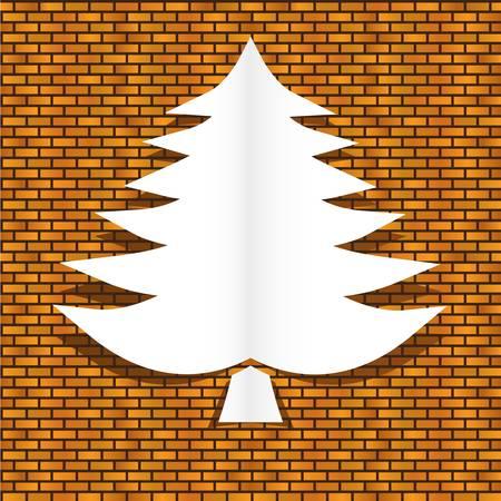 brickwall: �rbol de navidad en la pared de ladrillos