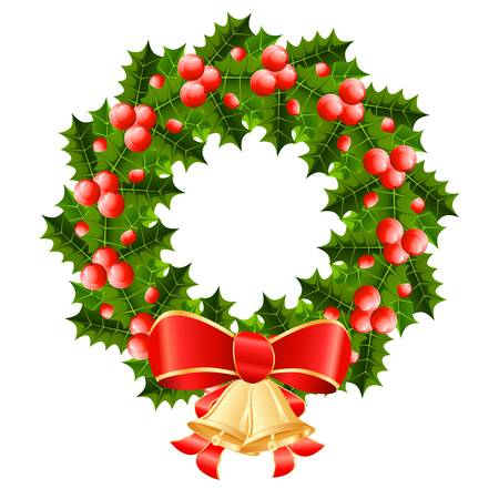 christmas wreath with red ribbon and golden jingle bells Vector