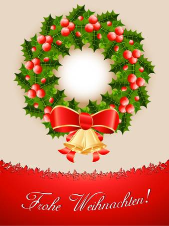 Christmas card with christmas wreath Stock Vector - 16311640