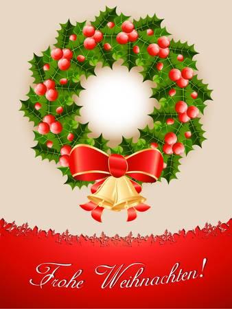 Christmas card with christmas wreath Stock Vector - 16311640