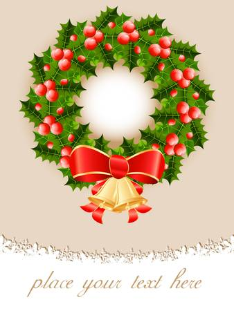 Christmas card with christmas wreath Vector