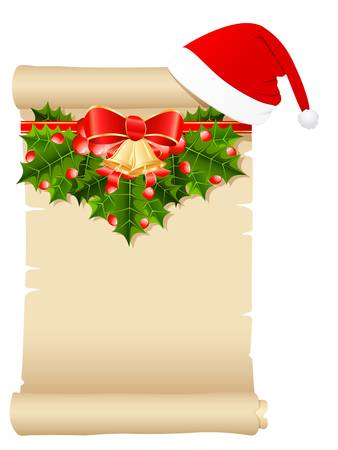 Christmas Wish List with Santa s hat and Christmas decoration Vector