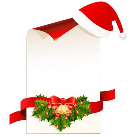 muerdago: tarjeta de navidad y sombrero de Santa s