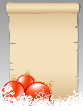 paper scroll with christmas balls and snowflakes Vector