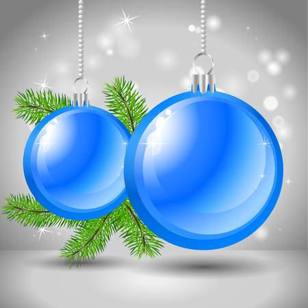 background with Christmas balls and fir branch Stock Vector - 16530378