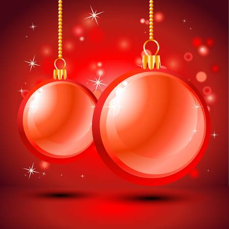 red background with Christmas balls Stock Vector - 16530377