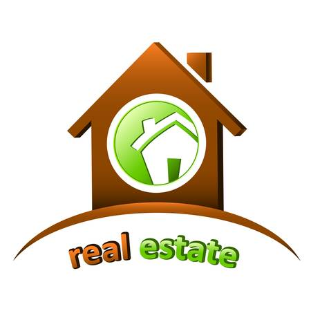 housetop: house, real estate sign Illustration
