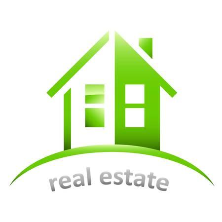 housetop: house, real estate sign Illustration