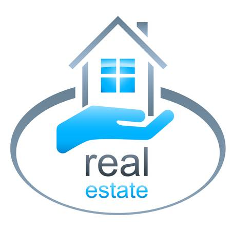 real estate agent: house, real estate sign Illustration
