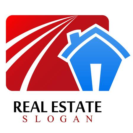 real estate: house, real estate sign Illustration