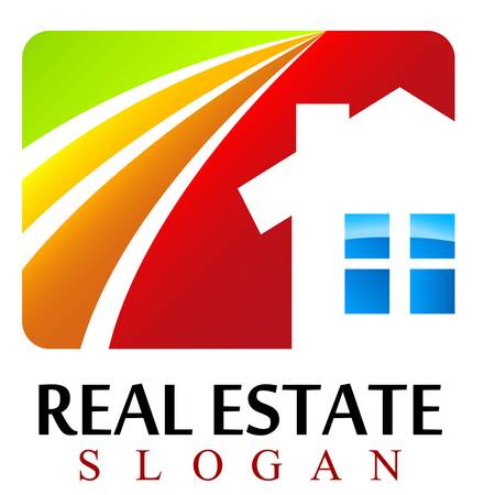 real estate background: house, real estate sign Illustration