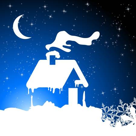 traditional house: christmas background with snow house