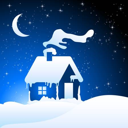 christmas background with snow house  Vector