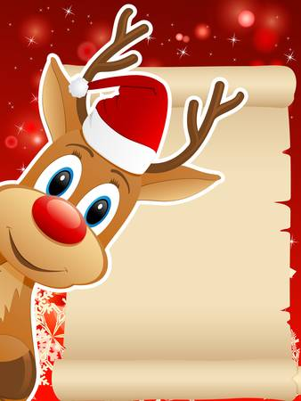 santas reindeer: reindeer with Santa hat and Christmas background - vector illustration Illustration
