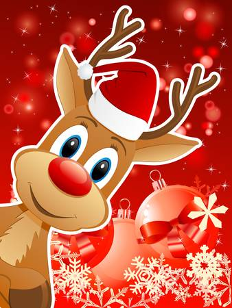 reindeer with Santa hat and Christmas background - vector illustration Illustration