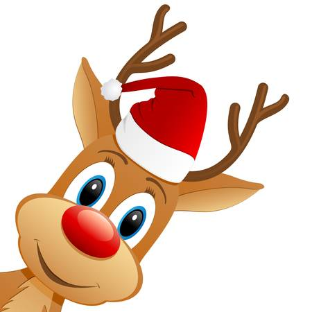 cartoon reindeer: reindeer and Santa hat