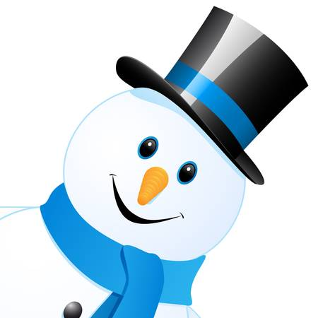 snowman background: snow man with top hat Illustration