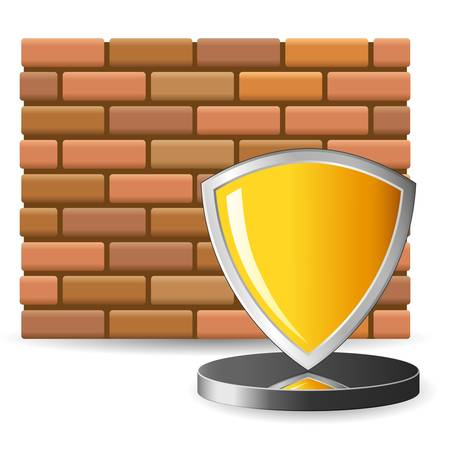 brick wall and security shield Stock Vector - 16690069