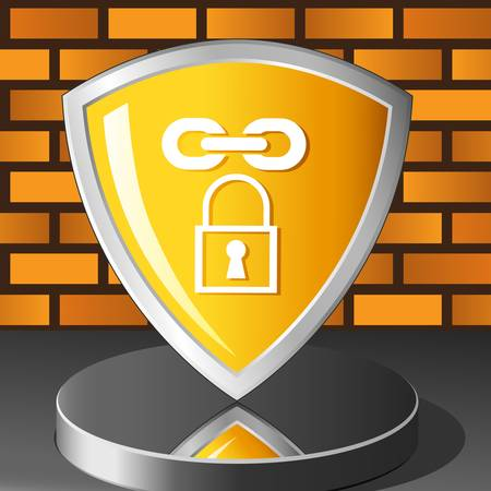 safe lock: brick wall and security shield