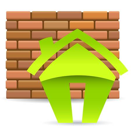 brick wall and house icon Stock Vector - 16752598