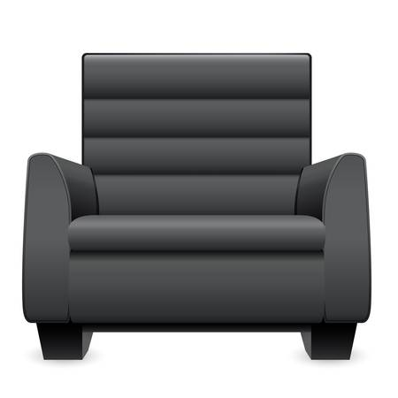 sofa: black leather armchair