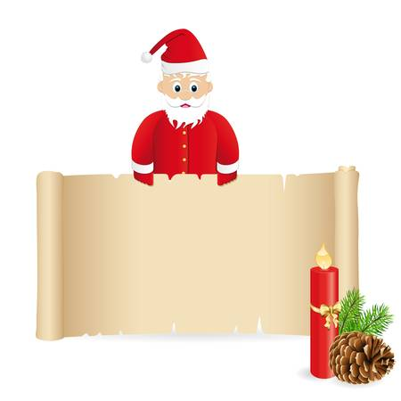 paper scroll with Santa Claus for christmas Vector