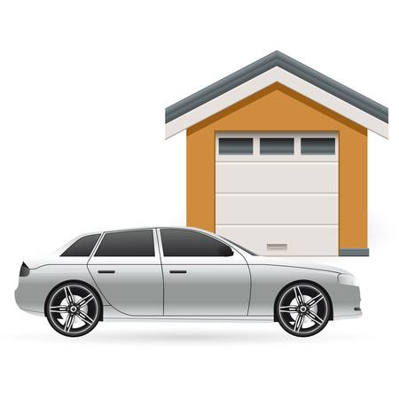 car garage and grey car Vector