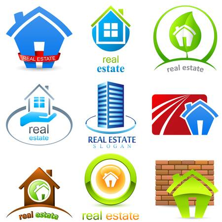 real estate: house, real estate - sign set