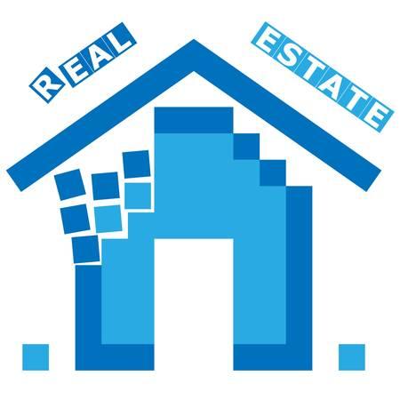brickwork: house, real estate sign Illustration