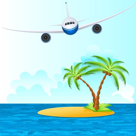 airplane over tropical island Vector