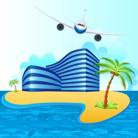 water jet: airplane over tropical island Illustration