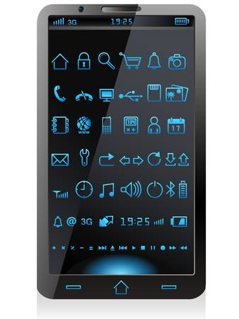 smart phone with glowing signs Vector