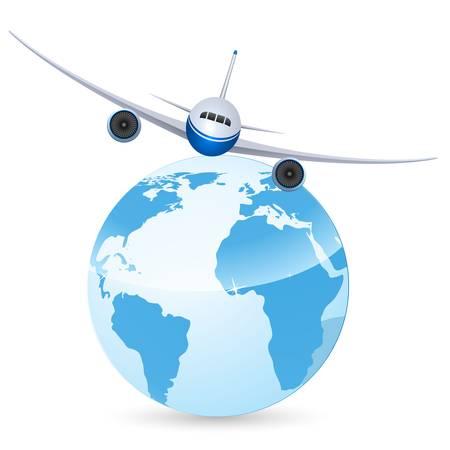 azafata: aeroplano sobre la tierra Vectores