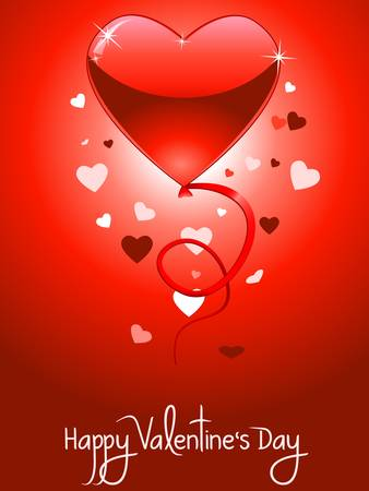 Valentine s Day card with flying hearts  Stock Vector - 17514084