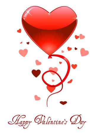 happy valentine s day: Valentine s Day card with flying hearts