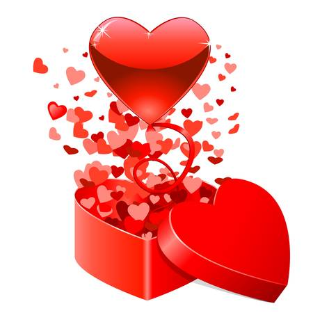 happy valentine s day: Gift box with flying hearts for Valentine s Day Illustration
