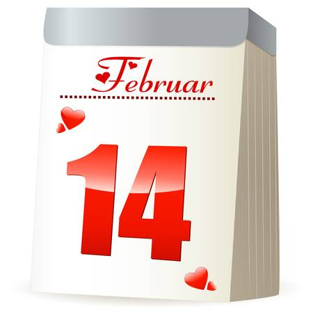 calender: 14 february calendar with hearts Illustration