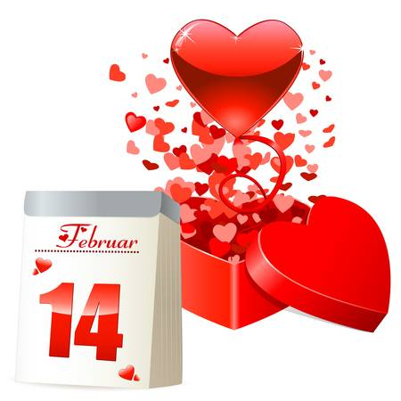 Valentine s day card with gift box, flying red hearts and calendar Vector