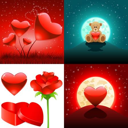 roses and hearts: Valentine s day backgrounds and love symbols