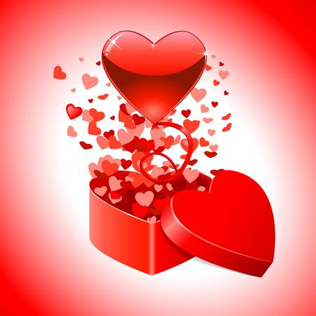 Valentine s day card with gift box and flying red hearts Vector
