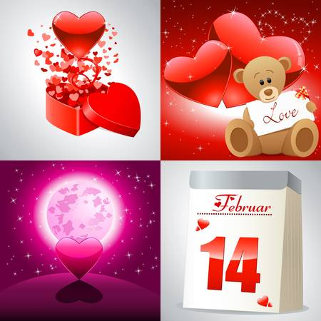 4 backgrounds for Valentine s Day Stock Vector - 17617115