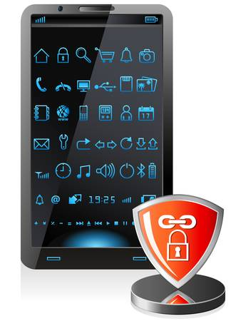 home security: smartphone security software - vector illustration