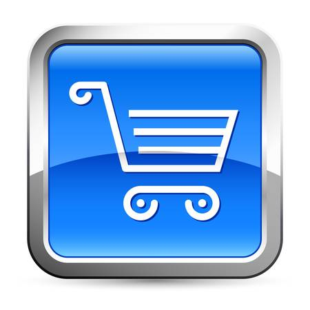 shopping cart - blue button Stock Vector - 17807950