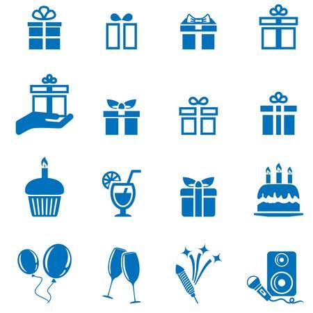 birthday icons - vector illustration