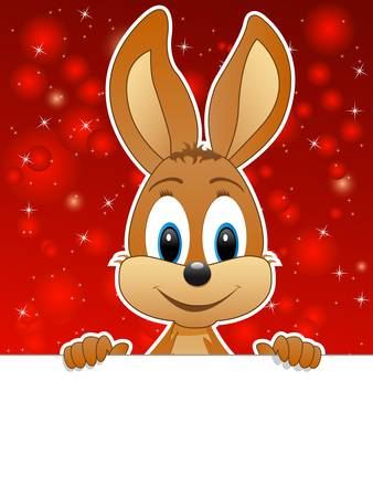 easter bunny and red background Vector