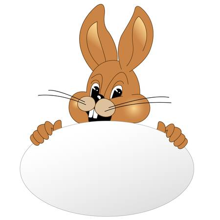 lapin blanc: Lapin de P�ques avec des oeufs de P�ques Illustration