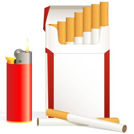 cigarette pack: cigarette pack and red cigarette lighter