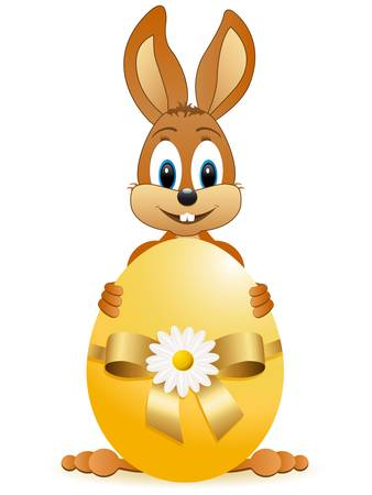 brown hare: easter bunny with easter egg Illustration