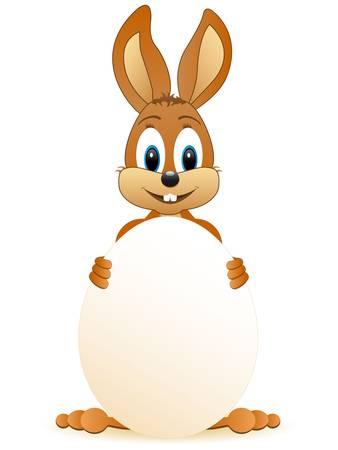 conejo caricatura: Conejo de Pascua con el huevo de Pascua Vectores