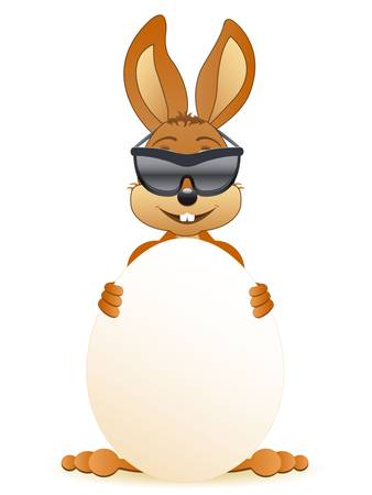 easter bunny with sunglasses  Vector